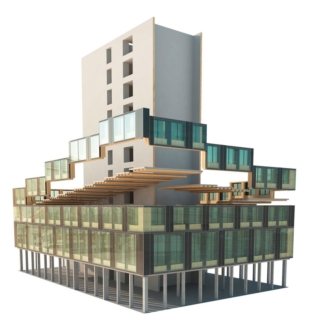 Holz-Hybrid-Systembauweise